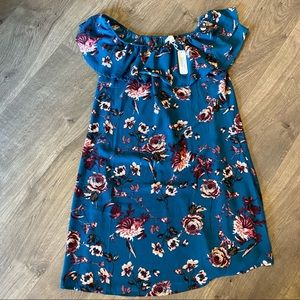 NWT Charming Charlie Teal Pink Floral Dress Small